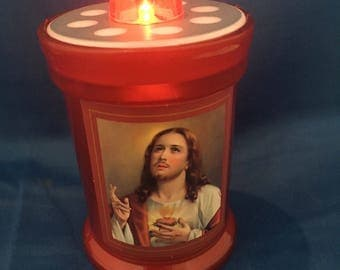 memorial candle,grave candle, LED Grave Candle, Memorial Light, Sacred Heart of Jesus,grave decoration,memorial candle,memorial gift,