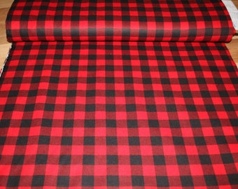tablecloth, red and black checked fabric.