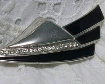Piscitello art deco silver and black enamel rhinestone brooch