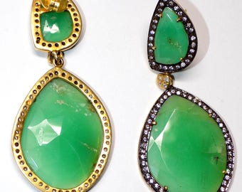 Chrysoprase and Zircon Earring in Sterling Silver .925 Yellow Gold Rhodium