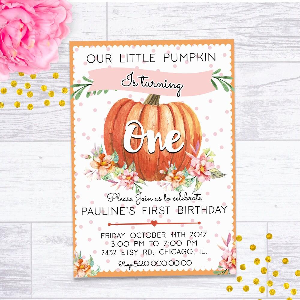LITTLE PUMPKIN INVITATION, pumpkin invitation, pumpkin birthday ...