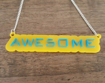 Awesome lasercut necklace colourful perspex acrylic fun
