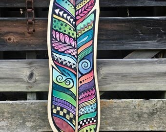 Large Neon Wooden Feather