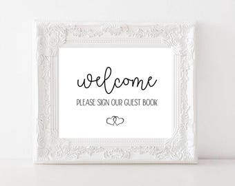 Wedding Guest Book Signage Version 3 / Instant Digital Download / Welcome Sign