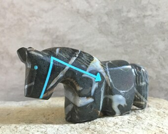 Zuni Fetish-Native American Art-HELPFUL HORSE-Little Art-Stone Totem Animal-Zuni Carving-Purisima  Stone-Fossil-Turquoise