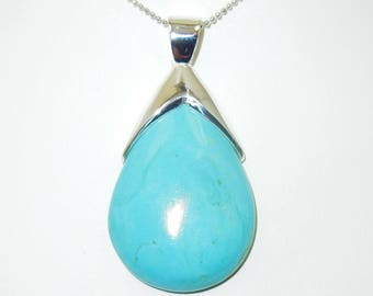 Natural  Turquoise 925 Sterling Silver Pendant