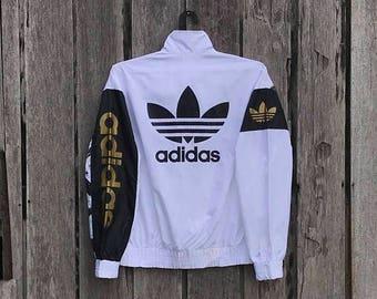 Clearance Sale 30% Rare!!! Vintage adidas windbreaker spells out big logo sweatshirt jumper