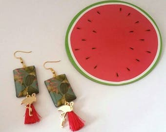 Earrings tropical hooks gold plated, charms, Flamingo and PomPoms