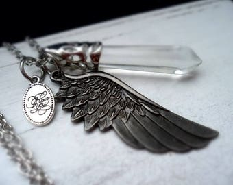 Necklace, necklace, necklace, wings, XL pendant, glass pendant, wing, G88