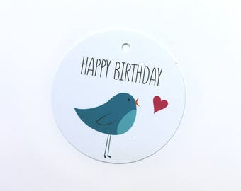 Happy Birthday gift tag with illustrated blue bird and heart – set of 12