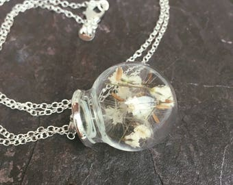 Devon heaven pendant, terrarium jewelry, real flower necklace, botanical jewelry, gift for her, flower jewelry, baby's breath necklace