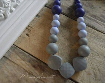 Teething necklace. [Grey]-blue.