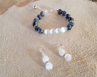 Bracelet with snowflake obsidian, cat eye and crystal beads, earrings with cat eye and crystal beads