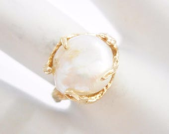 Pearl Ring, Gold Pearl Ring, Vintage Pearl Ring, Pearl Rings, Gold Pearl Rings, 10k Yellow Gold Freshwater Pearl Ring Sz 7 #2965