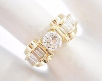 Diamond Ring, Gold Diamond Ring, Vintage Ring, Diamond Rings, Gold Ring, 14k Yellow Gold 1.0 Carat CTW Round & Baguette Diamond Ring #321