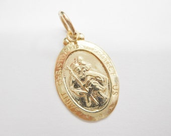 St. Christopher, Gold Charm, Protect Us Charm, Vintage Charm, Genuine 10K Yellow Gold St Christopher Protect Us Charm Pendant #4272
