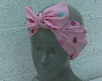 Handmade Pink/Multi Polka-dot Tie Headband