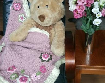 Pink crochet blanket - floral blanket - girls baby blanket - pink pram blanket - car seat blanket - lap blanket - small throw - pink blanket