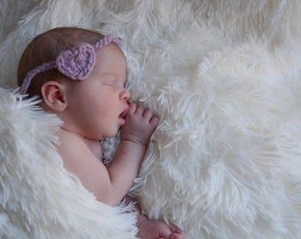 Newborn tie back headband - tieback - photography prop - newborn baby girl head band - cute photo prop - purple - pink - delicate - wool