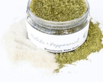 Peppermint Sugar Scrub, Matcha Green Tea Scrub, Organic Sugar Scrub, Body Scrub, Foot Scrub, Body Polish, Matcha Sugar Scrub