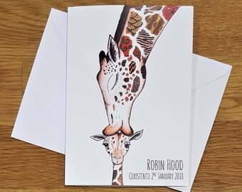 Personalised Christening card   Christening card   Giraffe Christening card