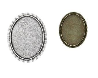 Brooch pins, brooches, brooch blanks, Cabochon, cabochons, version, 30x40mm, silver, bronze