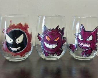 HAUNTER GENGAR GHASTLY ghost type trio pokemon wine glasses (3)
