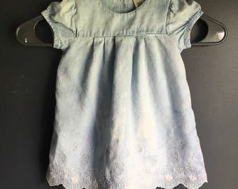 size 12 month short sleeve shirt/dress repurposed with bleach