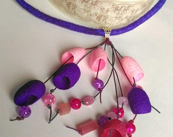 Silk cocoon necklace  Purple pink necklace Silk cocoon jewelry Gift for her Christmas gift Pendants silk cocoons Necklace with pendants