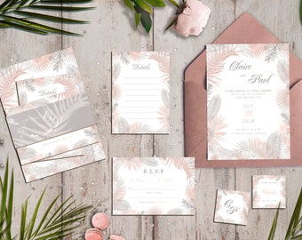 Elegant Tropical Wedding Set, editable & printable