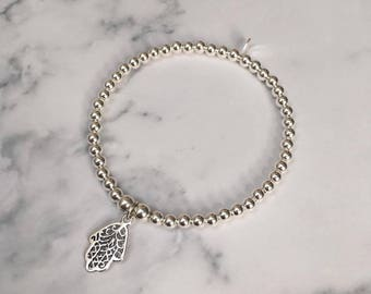 Sterling Silver bracelet with Hamsa Hand charm