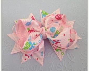 "On Sale Pink  3"" Girls Boutique Bow Hair Clip #5 - Swirl Design - Girls hair accessories, Hair bows, Hair clips,"