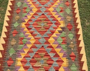 Article # 5383 VEGETABLE DYED Hand Made Chobi Kilim Runner Rug Double Face Design 198 x 70 cm - 6.5 x 2.3 Feet