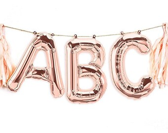 "16"" Custom Rose Gold Letter Balloon Banner/ Small Rose Gold Letter Balloons/  Rose Gold Balloons/ Rose Gold Birthday Party"