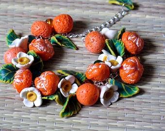 Bracelet Mandarin  polymer clay decoration handmade bijouterie for woman beautiful gift charm woman jewelry