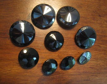 Antique glass buttons black buttons _1_ old black glass