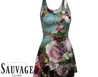 Melancholic Floral Skater / Flare dress • Made out of  our Famous ECO fabric - Totally handmade in Montreal - XS to XL