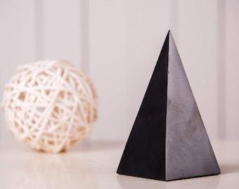 Shungite Pyramid High 2.76-4.0 inch. (7-10 cm) Polished Shungite Stone EFM Protection Black Stone Healing Crystal Pyramid Chakra Ballance