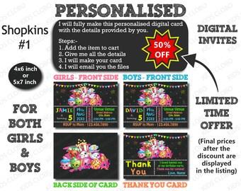 Shopkins Invitation, Shopkins Birthday Invite, Shopkins Birthday Invitation, Shopkins Birthday Party Invite,  Shopkins Party Printable