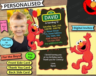Elmo Invitation, Elmo Invite, Elmo Birthday Invite, Elmo Birthday Invitation, Elmo Birthday Party Invite, Sesame Street Birthday Invites