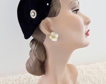 Vintage 1950's Black Velour Hat | Vintage Hat |