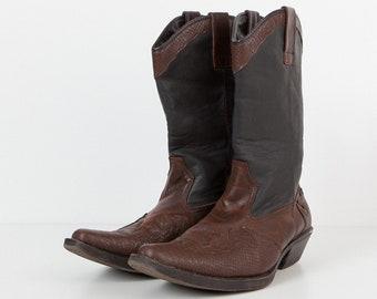 Vintage Brown Black Leather Western Cowboys Man Boots/ Size 46
