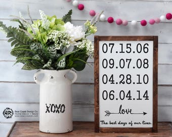Special Dates Sign / The Best Days Sign / Anniversary Gift / Family Christmas Gifts /Custom Family Sign/Important Dates Sign/Birth Date Sign