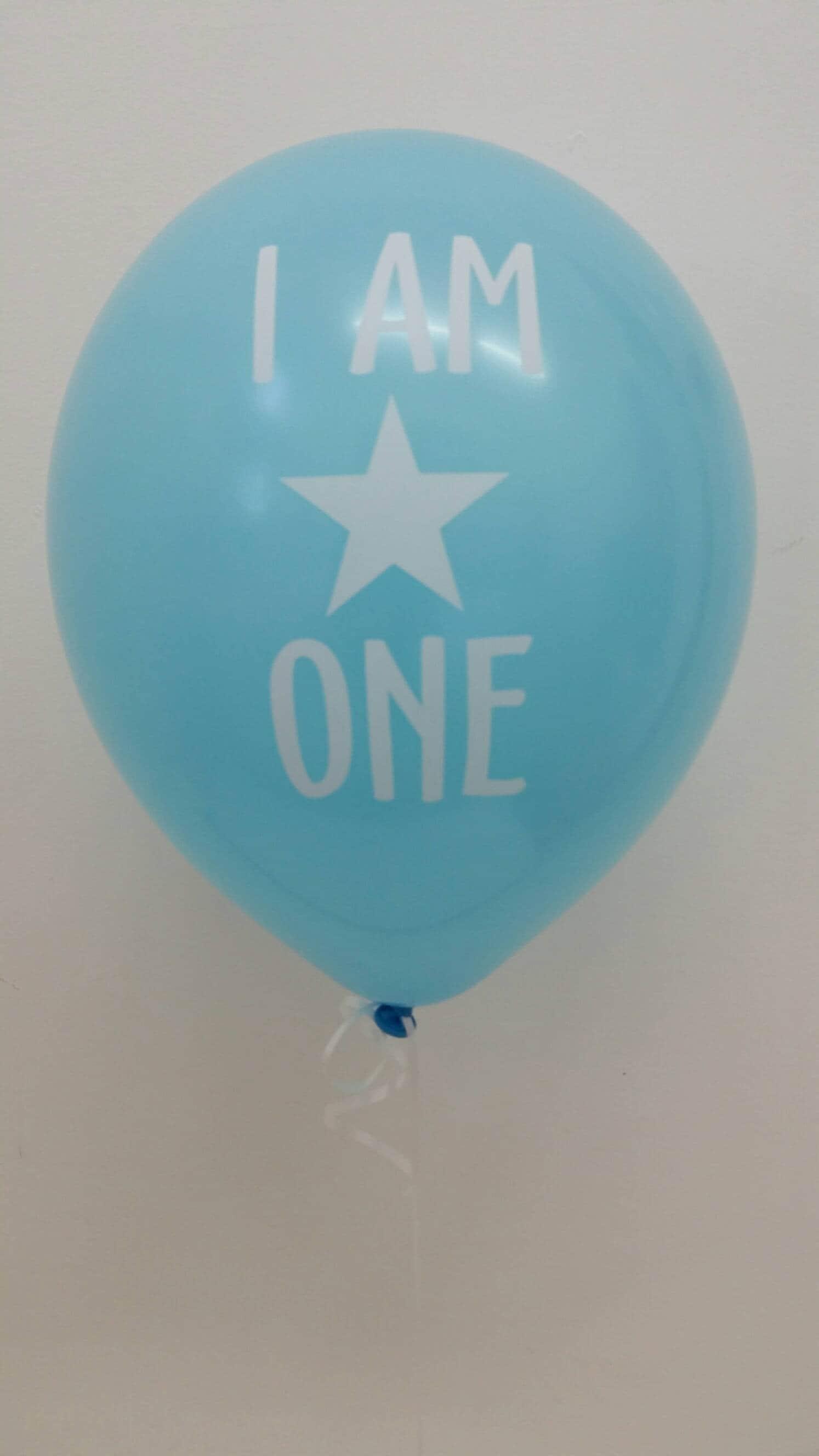 First Birthday Boy Blue Balloon I am One Balloon Blue Balloons
