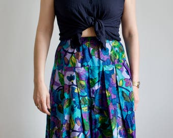Vintage Purple Floral Skirt