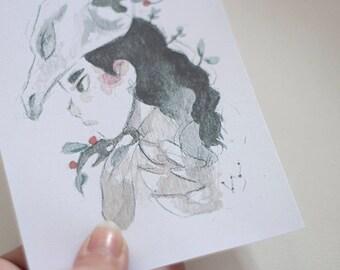 Skull Girl Print A6