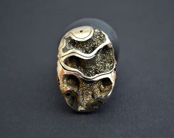 Ammonite fragment with silver pyrite  29 x 20 x 7 mm