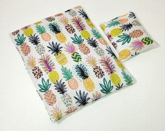 Pineapple Party on White Microwavable Heating Pad Set - comfort bag;heat therapy;cooling pack; square heating pad; tummy warmer