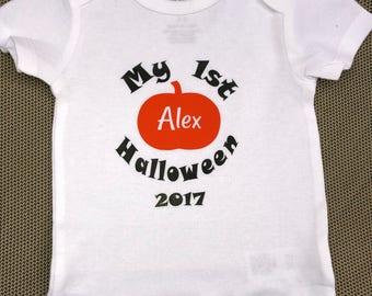 1st Halloween onesie, fall onesie, baby onesie, personalized baby onesie, pumpkin onesie, girl onesie, boy onesie, baby shower gift