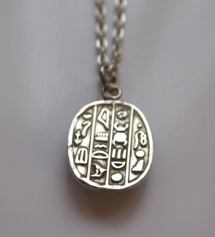 Vintage sterling silver scarab necklace pendant egyptian scarab vintage sterling silver scarab necklace pendant egyptian scarab beetle pendant aloadofball Gallery